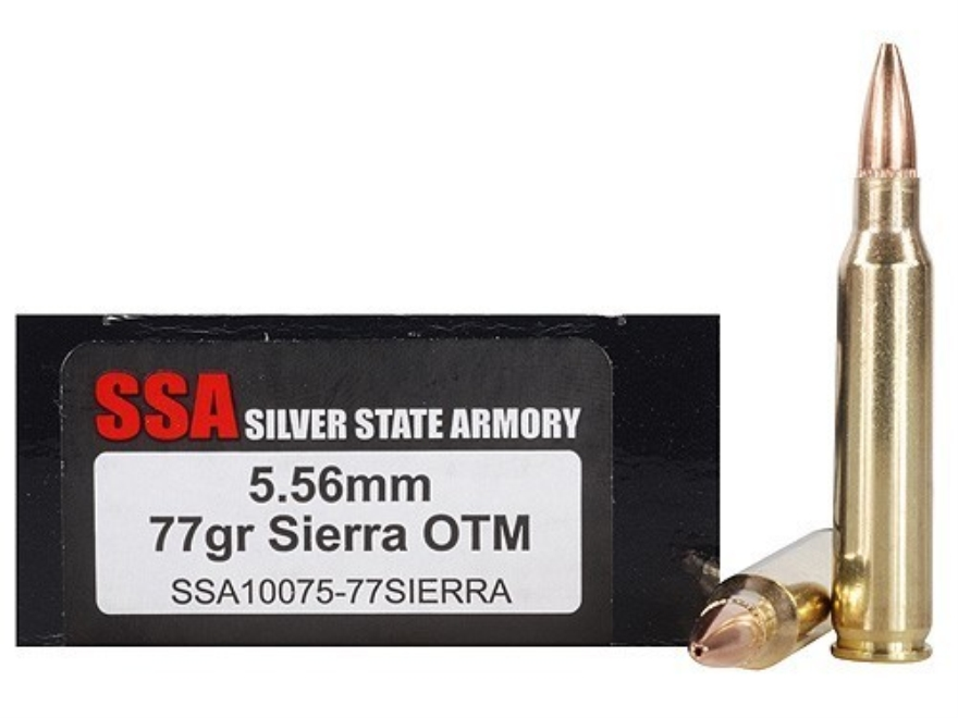 Silver State Armory Ammunition 5.56x45mm NATO 77 Grain Sierra MatchKing Hollow Point Bo...