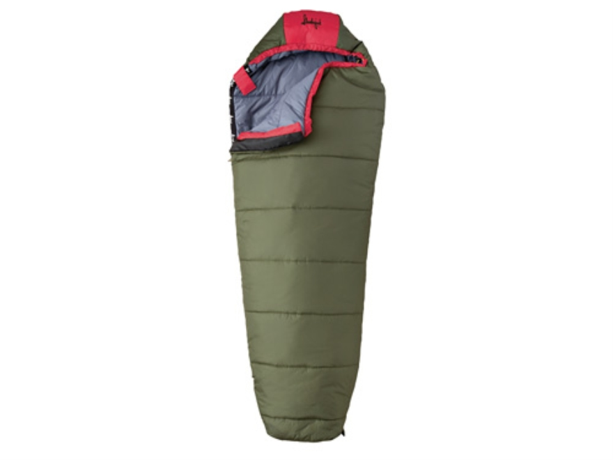 "Slumberjack Lil' Scout 40 Degree Youth Mummy Sleeping Bag 25"" x 60"" Polyester OD and Red"