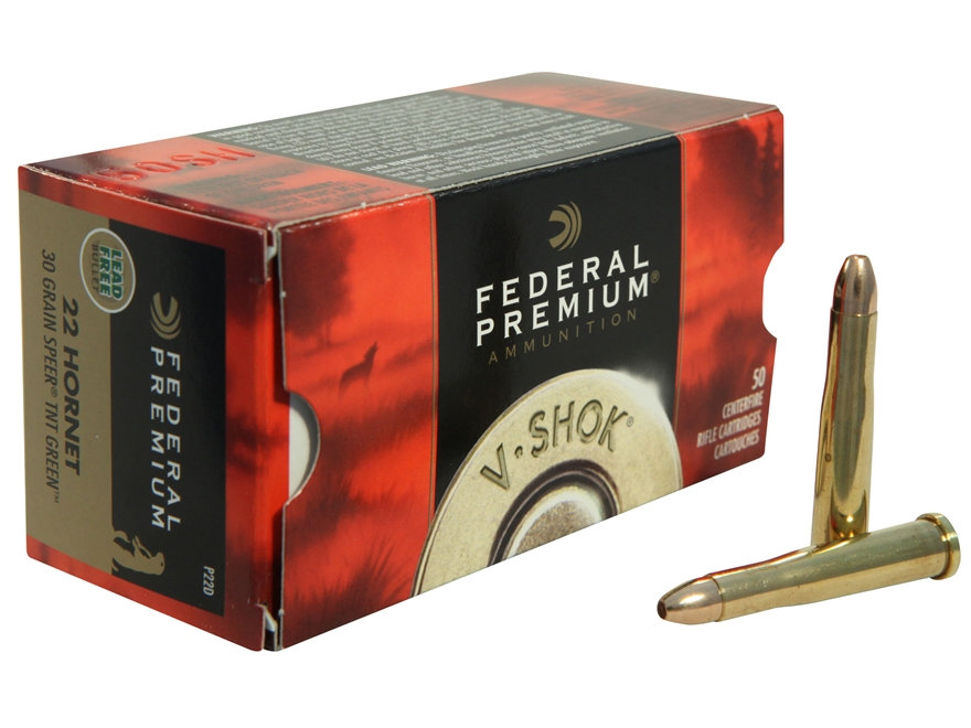 Federal Premium V-Shok Ammunition 22 Hornet 30 Grain Speer TNT Green Hollow Point Lead-...