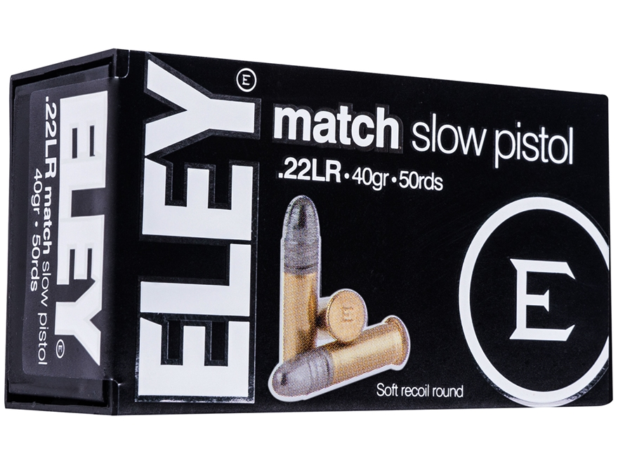 Eley Match Pistol Ammunition 22 Long Rifle 40 Grain Lead Round Nose