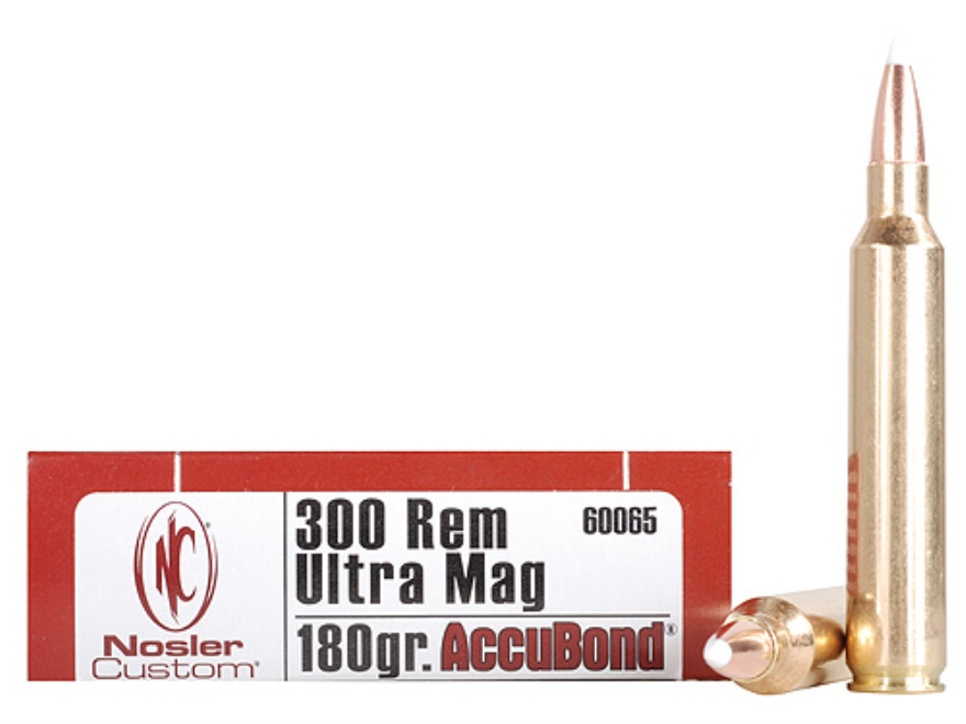 Nosler Trophy Grade Ammunition 300 Remington Ultra Magnum 180 Grain AccuBond Box of 20