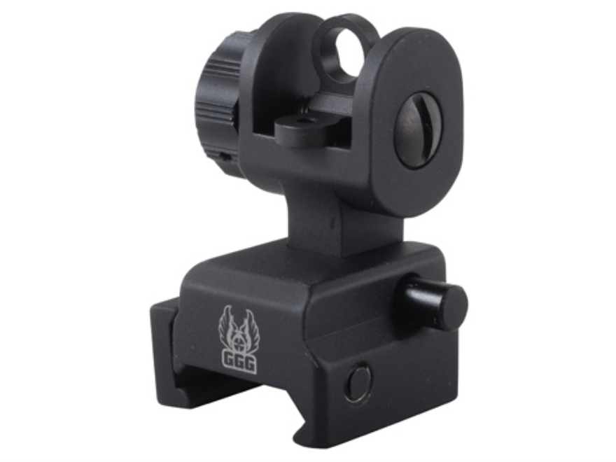 GG&G Spring-Actuated Flip-Up Rear Sight AR-15 with XS Sights Same-Plane Aperture Alumin...