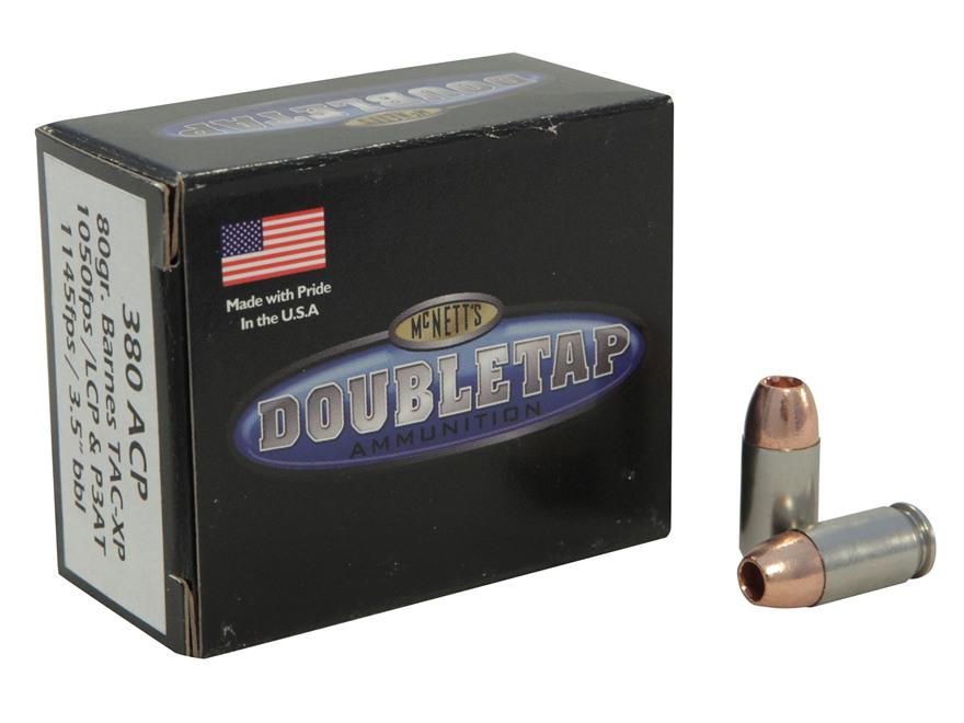 DoubleTap Ammunition 380 ACP 80 Grain Barnes TAC-XP Lead-Free Box of 20