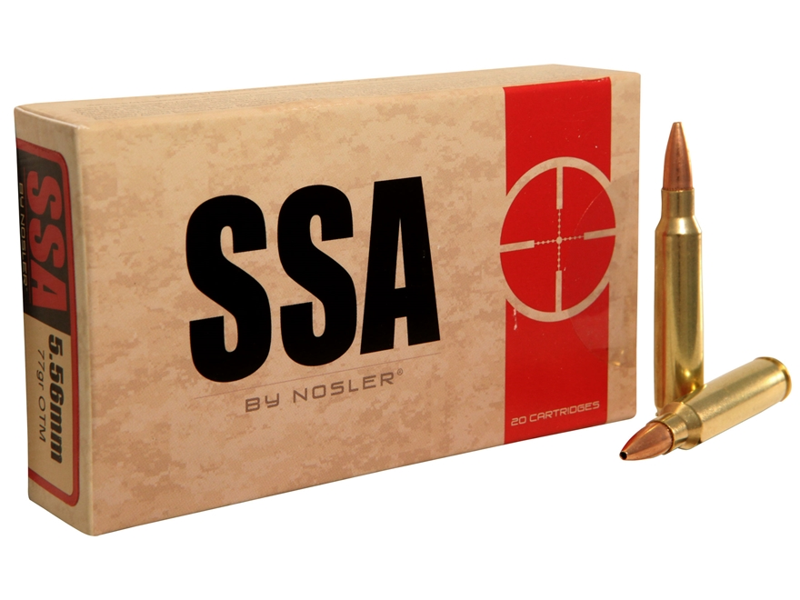 Silver State Armory Ammunition 5.56x45mm NATO 77 Grain Nosler Custom Competition Hollow...