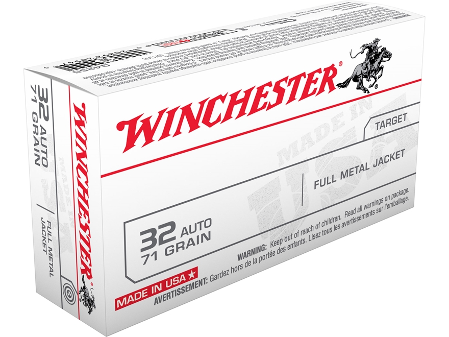 Winchester USA Ammunition 32 ACP 71 Grain Full Metal Jacket Box of 50