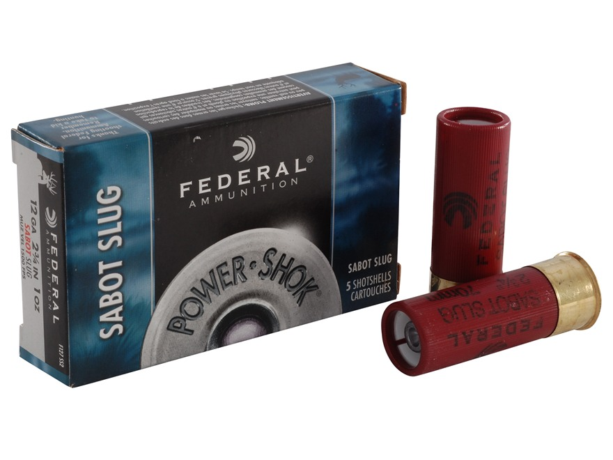 "Federal Power-Shok Ammunition 12 Gauge 2-3/4"" 1 oz Sabot Slug Box of 5"