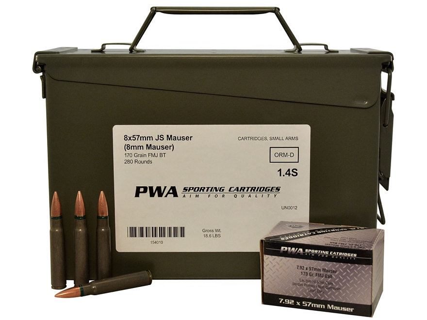 PW Arms Ammunition 8x57mm JS Mauser (8mm Mauser) 170 Grain Full Metal Jacket Boat Tail ...
