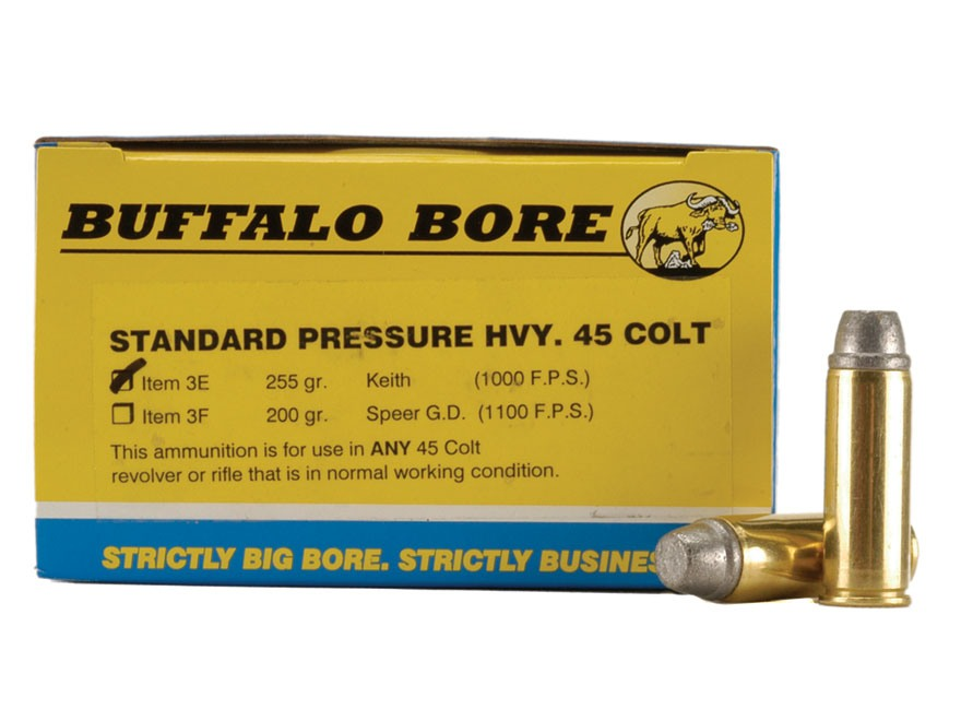 Buffalo Bore Ammunition 45 Colt (Long Colt) 255 Grain Lead Keith-Type Semi-Wadcutter Ga...