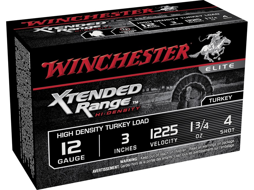 "Winchester Xtended Range Turkey Ammunition 12 Gauge 3"" 1-3/4 oz #4 Hi-Density Shot Box ..."