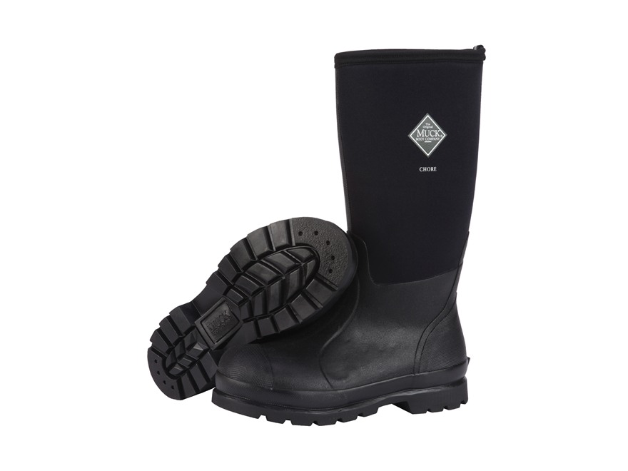 "Muck Chore Hi 15"" Waterproof Insulated Work Boots Rubber and Nylon Black Men's"