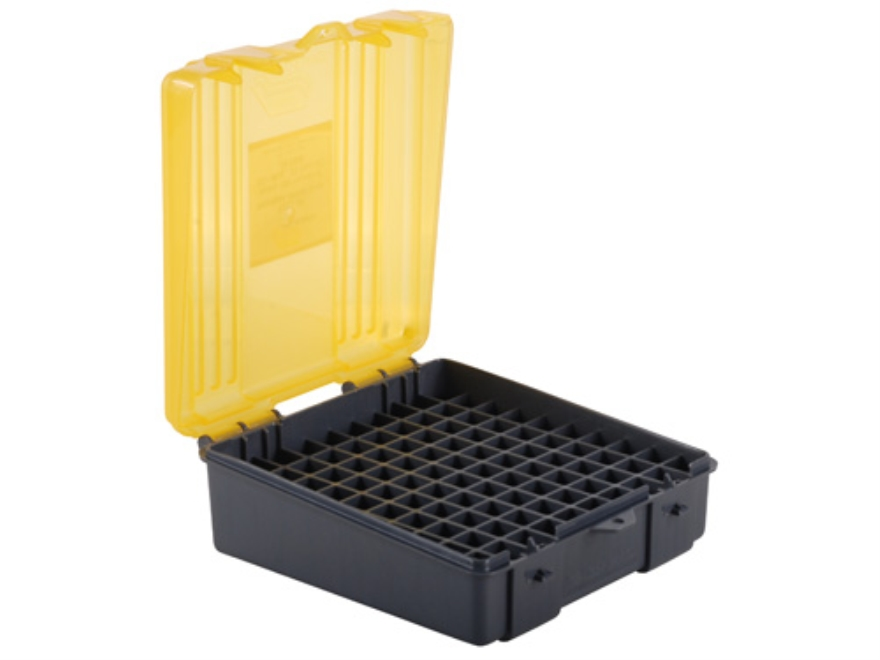 Plano Ammo Box 38 Special, 357 Magnum 100-Round Plastic Dark Gray and Clear Amber
