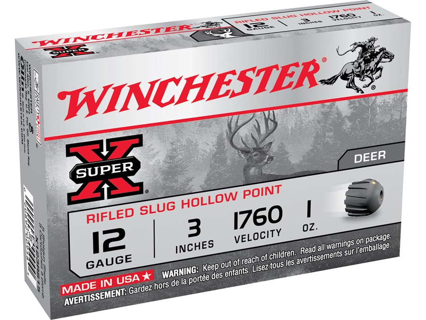 "Winchester Super-X Ammunition 12 Gauge 3"" 1 oz Rifled Slug Box of 5"