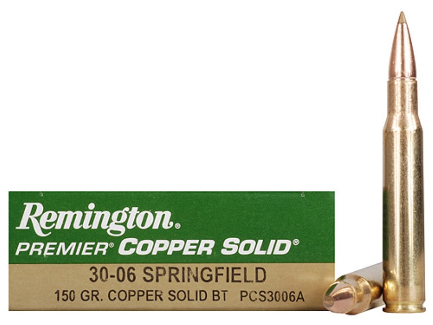 Remington Premier Ammunition 30-06 Springfield 150 Grain Copper Solid Tipped Boat Tail ...