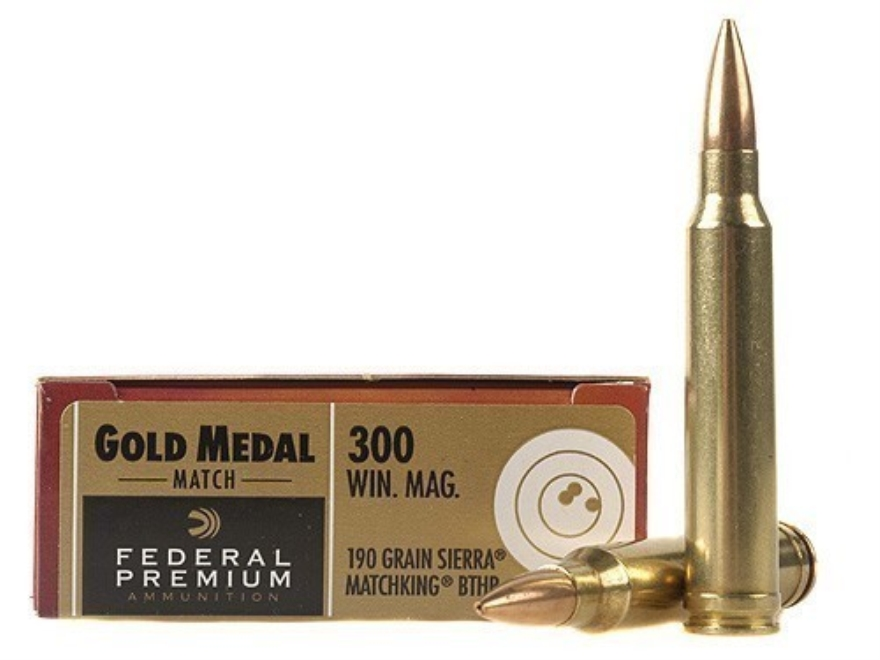 Federal Premium Gold Medal Ammunition 300 Winchester Magnum 190 Grain Sierra MatchKing ...