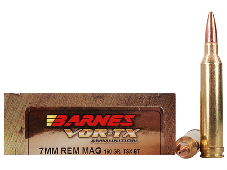 Barnes VOR-TX Ammunition 7mm Remington Magnum 160 Grain Triple-Shock X Bullet Boat Tail...
