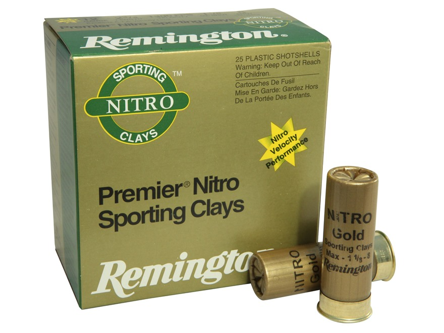 "Remington Premier Nitro Gold Sporting Clays Ammunition 12 Gauge 2-3/4"" 1-1/8 oz #8 Shot..."
