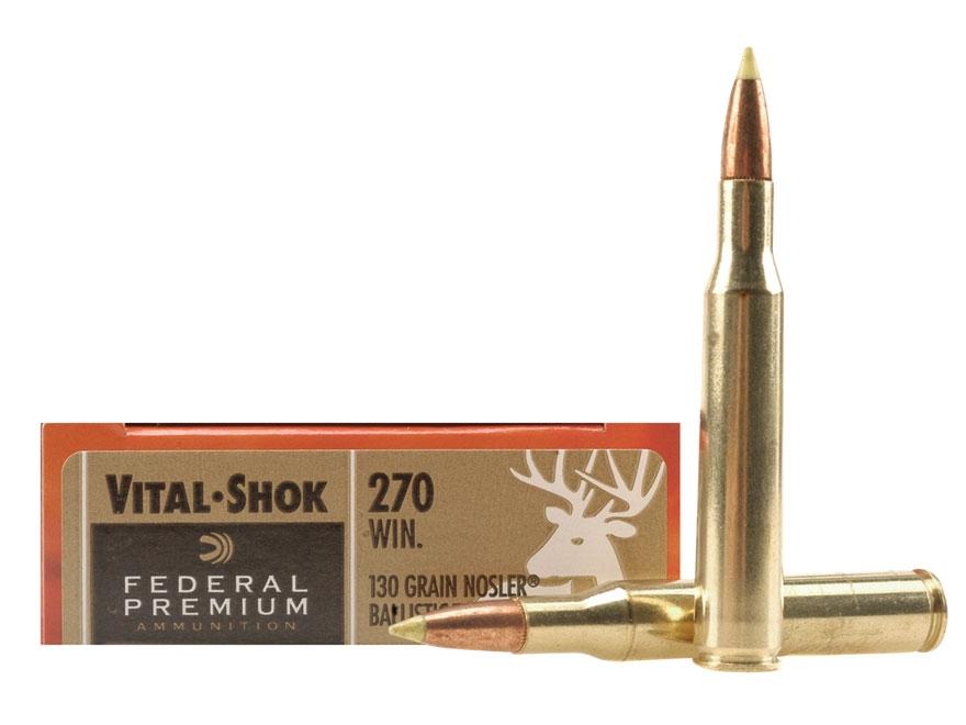 Federal Premium Vital-Shok Ammunition 270 Winchester 130 Grain Nosler Ballistic Tip Box...