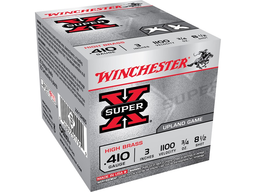 "Winchester Super-X High Brass Ammunition 410 Bore 3"" 3/4 oz of 8-1/2 Shot"
