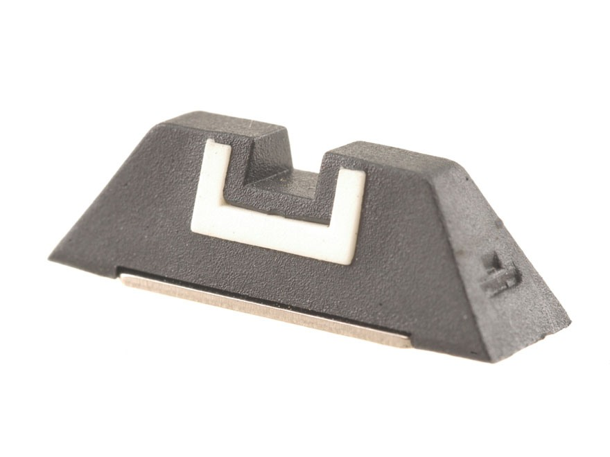 """Glock Square Rear Sight 6.9mm .271"""" Height Polymer Black White Outline"""