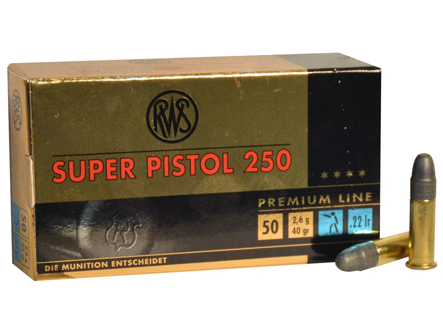 RWS Super Pistol 250 Ammunition 22 Long Rifle 40 Grain Lead Round Nose
