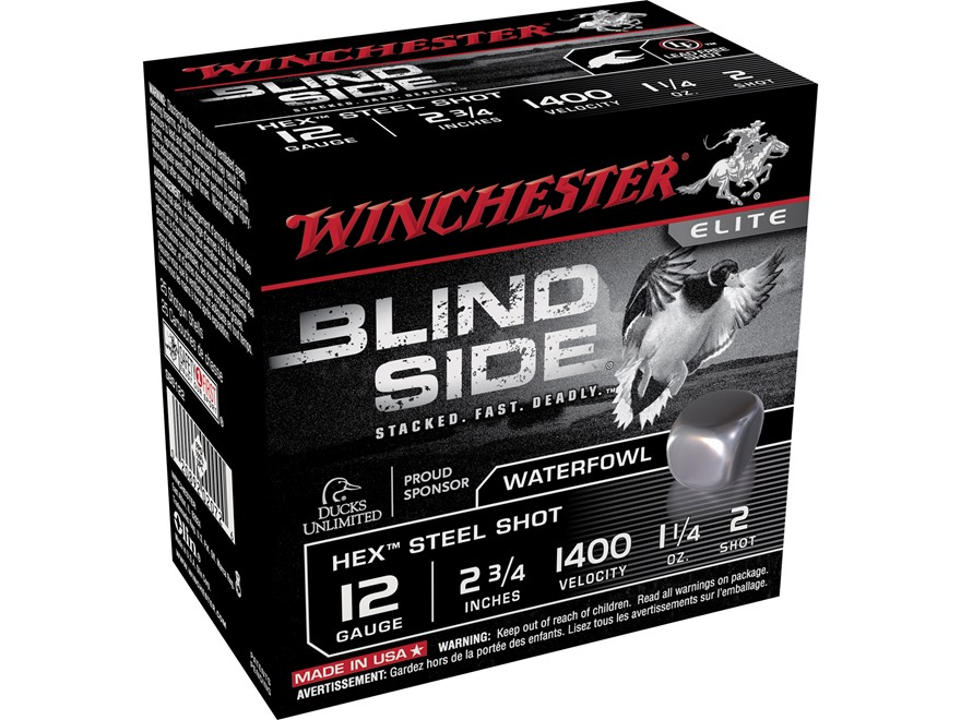 "Winchester Blind Side Ammunition 12 Gauge 2-3/4"" 1-1/4 oz #2 Non-Toxic Steel Shot"