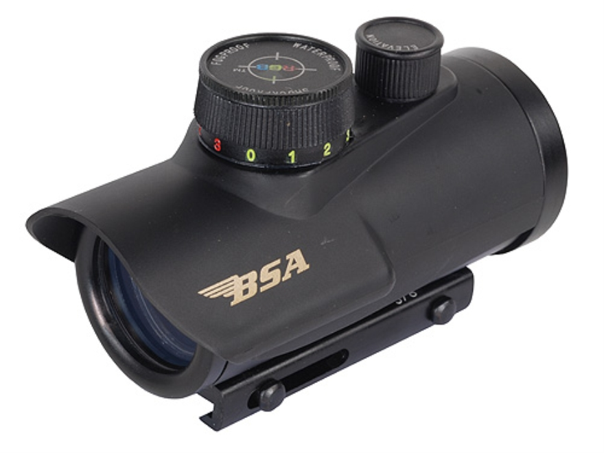 BSA Huntsman Red Dot Sight 1x 30mm 5 MOA Red, Green and Blue Dot Plex Reticle with Inte...