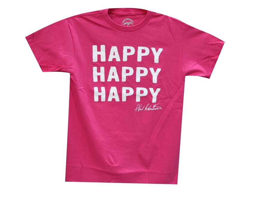 "Duck Commander Women's ""Happy, Happy, Happy"" T-Shirt Short Sleeve Cotton Pink XL"