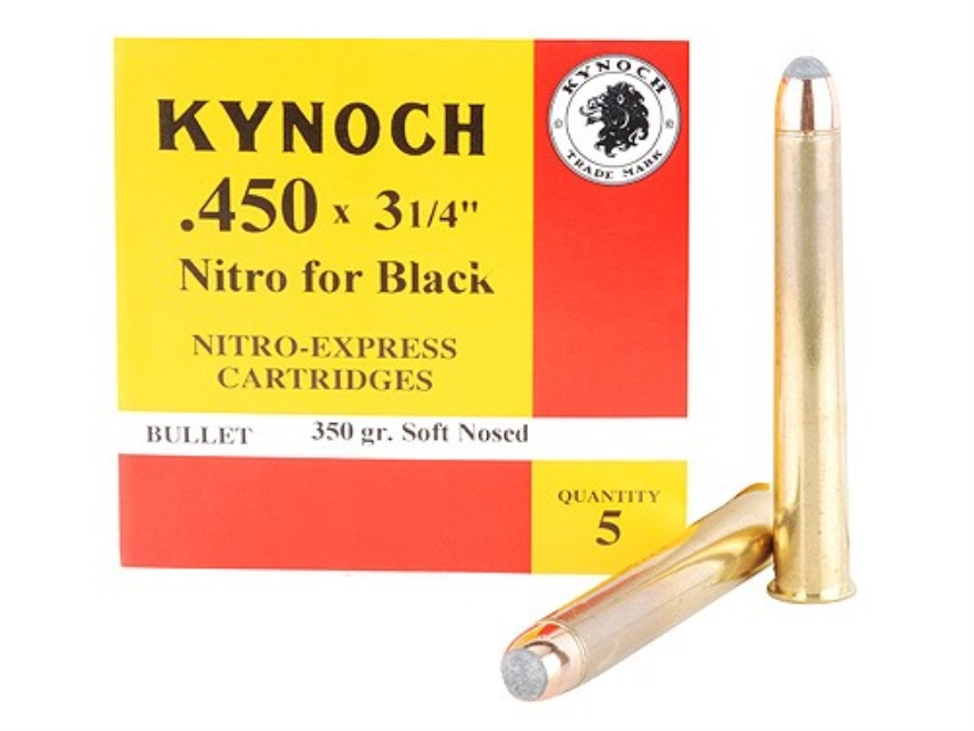 "Kynoch Ammunition 450 Black Powder Express 3-1/4"" 350 Grain Woodleigh Welded Core Soft ..."