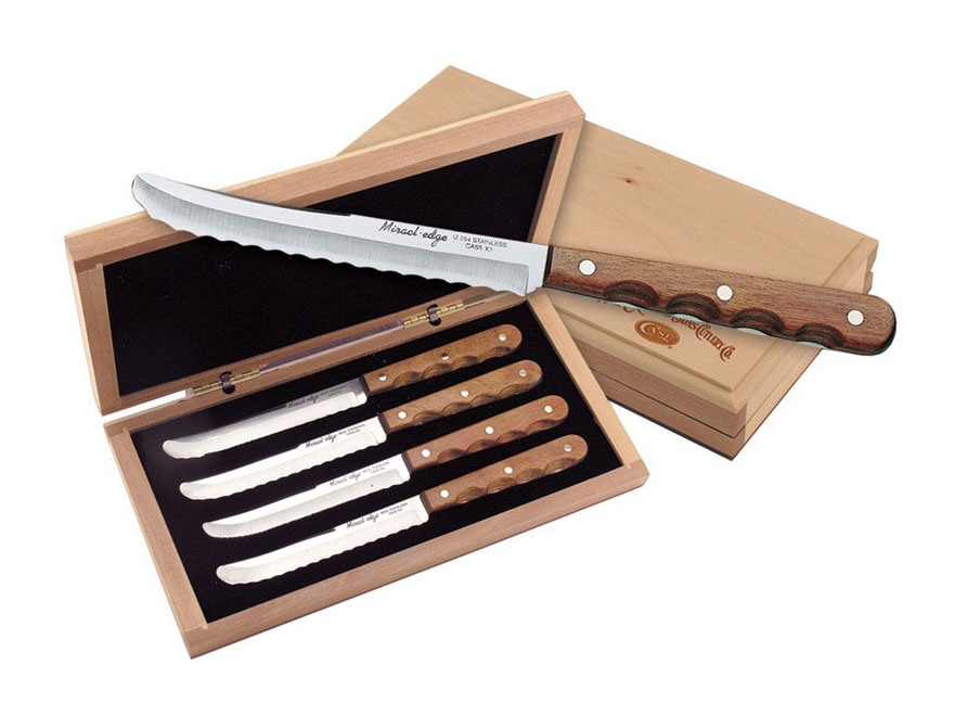 Case Miracl Edge Steak Knife 5 Serrated Stainless Steel Blade Wood Handle Brown Pack