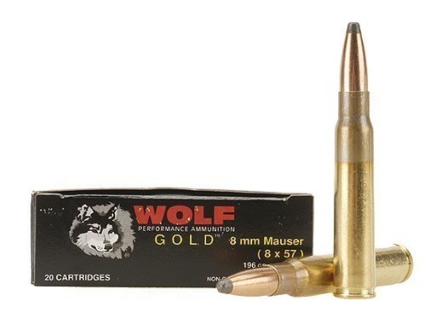 Wolf Gold Ammunition 8x57mm JS Mauser (8mm Mauser) 196 Grain Soft Point Box of 20