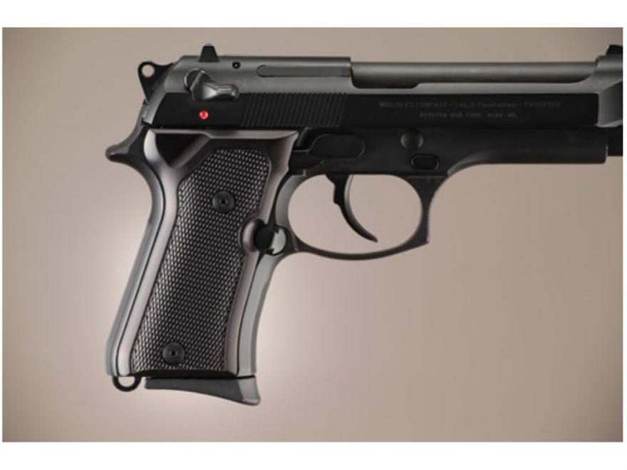 Hogue Extreme Series Grip Beretta 92FS Compact Checkered Brushed Aluminum Gloss Black