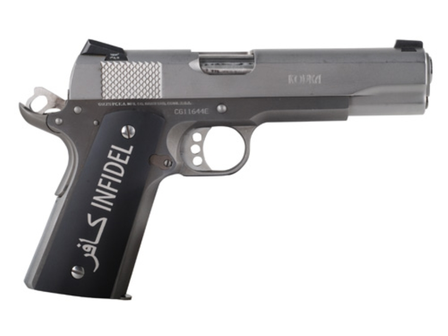 Hogue Extreme Series Grips 1911 Government, Commander Matte Black Aluminum with Infidel...