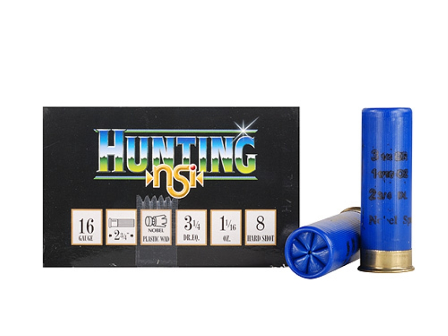 "NobelSport Hunting Ammunition 16 Gauge 2-3/4"" 1-1/16 oz #8 Shot Box of 25"