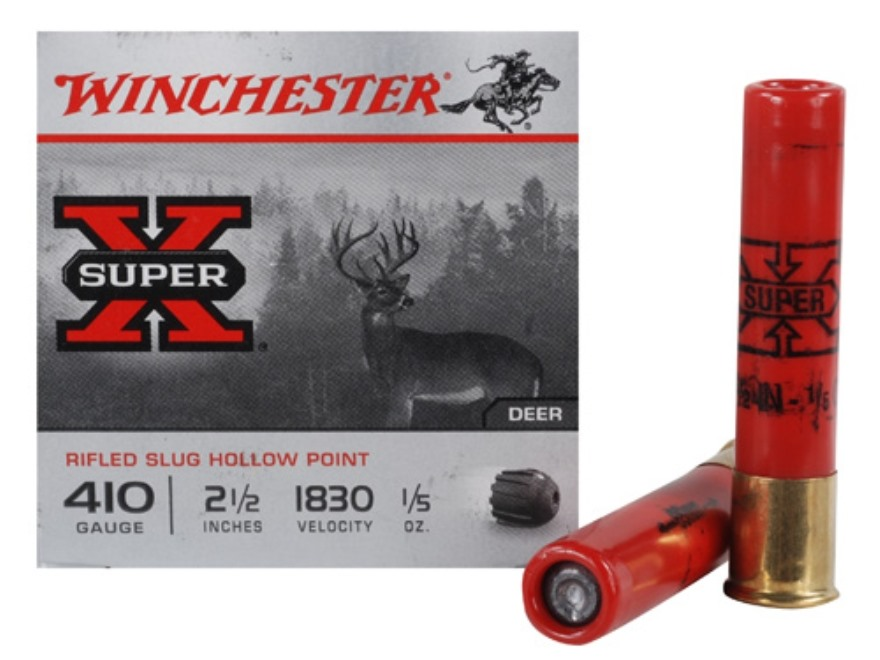 "Winchester Super-X Ammunition 410 Bore 2-1/2"" 1/5 oz Foster-Type Slug Box of 15"