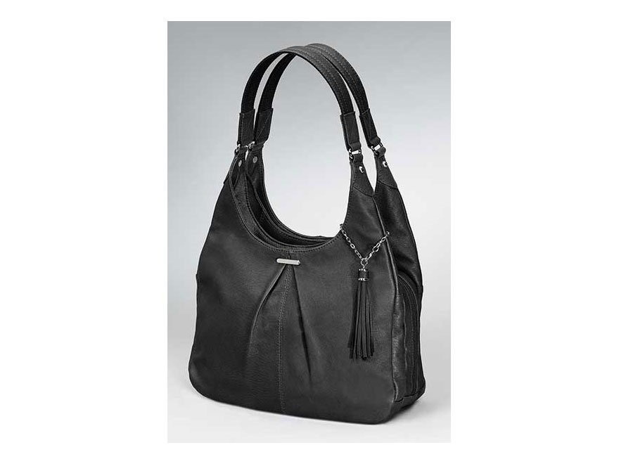 Gun Tote'N Mamas Pleated Slouch Handbag Leather Black