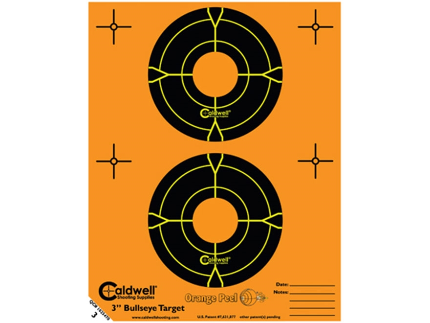 "Caldwell Orange Peel Targets 3"" Self-Adhesive Bullseye (2 Bulls Per Sheet) Pack of 15"