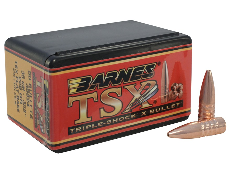 Barnes Triple-Shock X Bullets 35 Caliber (358 Diameter) 225 Grain Hollow Point Flat Bas...