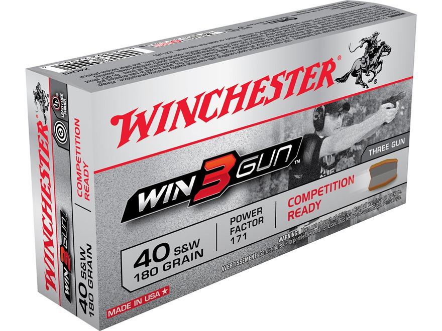 Winchester Win3Gun Ammunition 40 S&W 180 Grain Brass Enclosed Base
