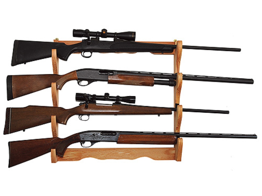 Allen Wall Display 4 Gun Rack Wood