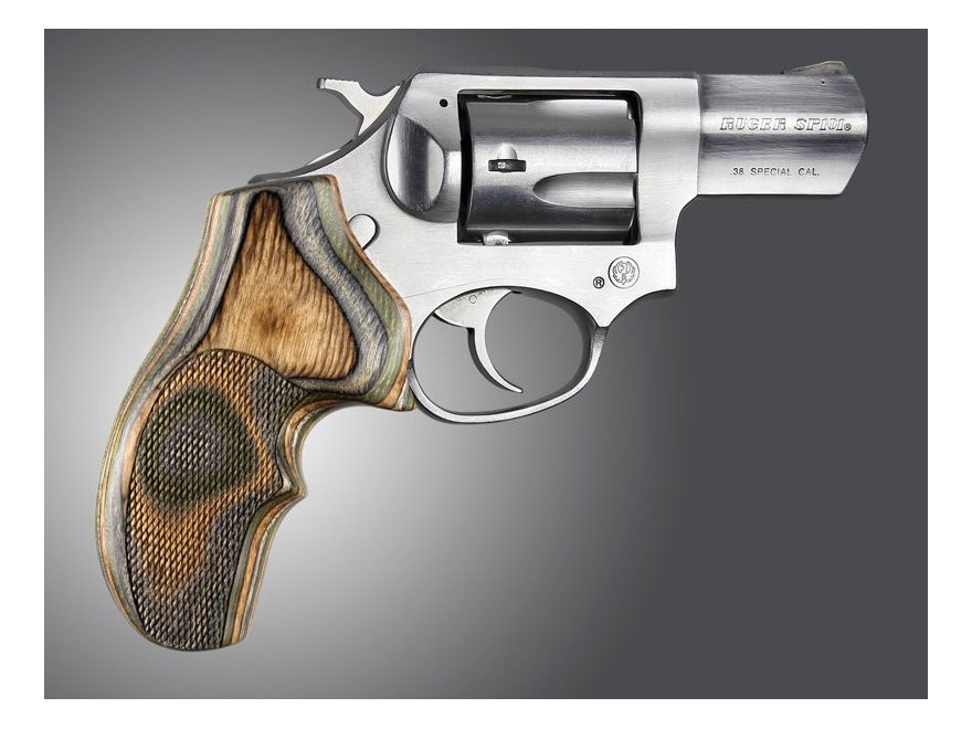 Hogue Fancy Hardwood Grips with Top Finger Groove Ruger SP101 Checkered