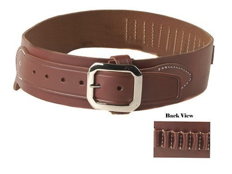 Oklahoma Leather Cowboy Drop-Loop Cartridge Belt 44, 45 Caliber Leather Brown Small