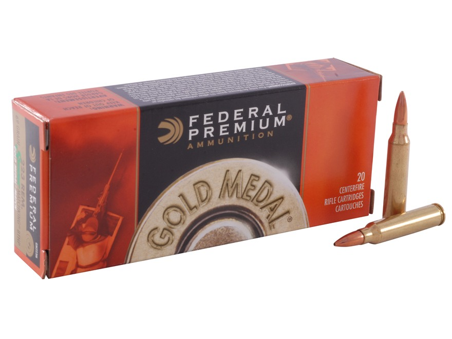 Federal Premium Gold Medal Ammunition 223 Remington 69 Grain Sierra MatchKing Hollow Po...