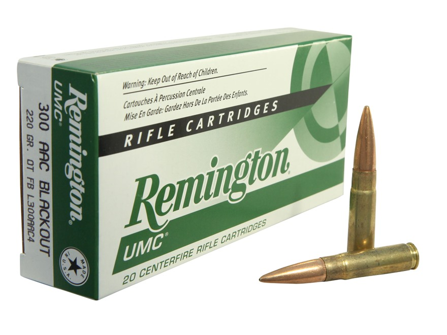 Remington UMC Ammunition 300 AAC Blackout Subsonic 220 Grain Open Tip Flat Base Box of 20