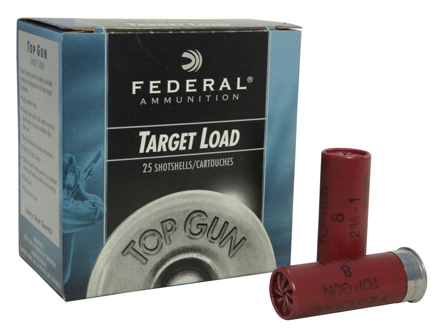 """Federal Top Gun Ammunition 12 Gauge 2-3/4"""" 1 oz #8 Shot"""