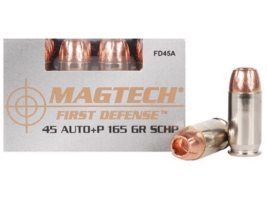 Magtech First Defense Ammunition 45 ACP +P 165 Grain Solid Copper Hollow Point Lead-Fre...