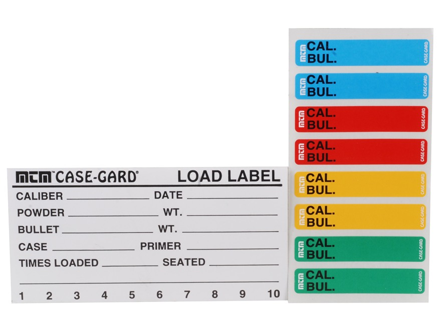 MTM Peel and Stick Reloader's Labels Rifle/Handgun Pack of 50 and Colored Box Stickers ...