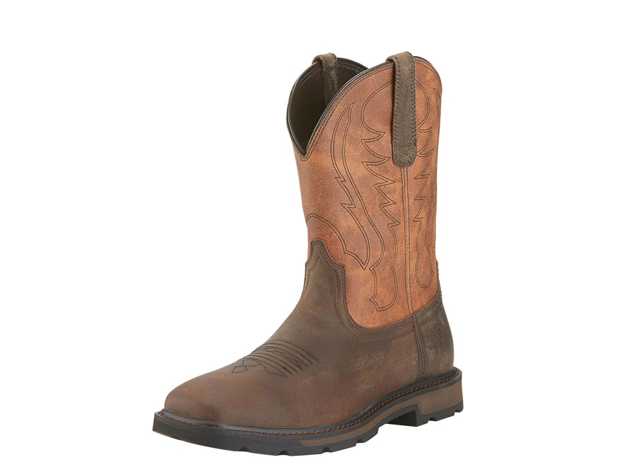 "Ariat Groundbreaker 10"" Pull-On Square Toe Work Boots Leather Brown/Ember Men's"