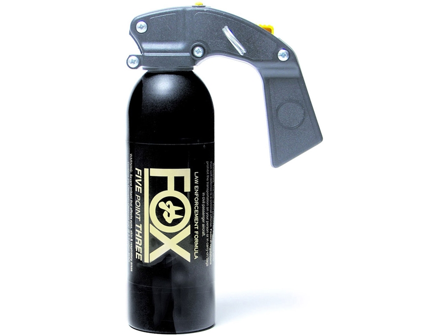 Fox Labs 16 oz Aerosol Pepper Spray 16 oz Aerosol Pistol Grip Fog 2% OC and UV Dye Black