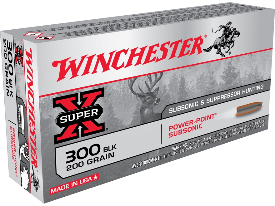 Winchester Super-X Ammunition 300 AAC Blackout Subsonic 200 Grain Power-Point