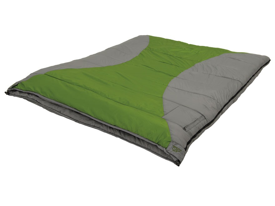 ALPS Mountaineering Twin Peak Double 20 Degree Sleeping Bag Polyester Green and Gray